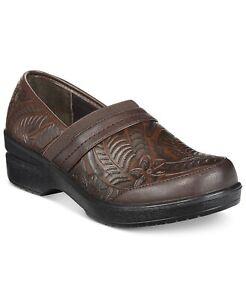 Easy Street Origin Women Slip On Clogs Size US 10WW Brown Tooled Embossed