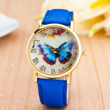 2017 Womens Ladies Butterfly Style Faux Leather Band Analog Quartz Wrist Watch