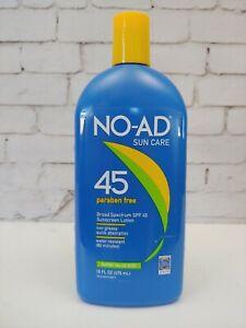 No-Ad Sun Care SPF 45 Paraben Free Sunscreen Lotion 16 oz Free Ship Exp 7/22