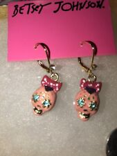 Betsey Johnson PINK SUGAR Skull Bow  Earrings Crystals