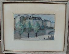 """Knut Olson 1904-1978, """"Kai an der Seine"""", Pastell, um 1950"""