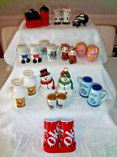 Lot of 12 Amazing Salt and Pepper Shakers Piano Barn Pigs Coke Kitty Cats Stein