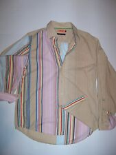Vintage Mani Ecki Long Sleeve Button Front Shirt Pnk Blue Yellow Grn Red Mens M