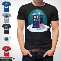Doctor Who Christmas Design T-Shirt, Life of Doctor Spoof, Police Box Black