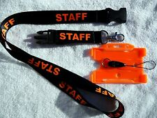 Staff Black Lanyard with Side Release Buckle and Orange Rigid ID Card Holder