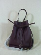 NWT FURLA Bordeaux Pebbled Leather Costanza S Drawstring Bucket Tote Bag $388