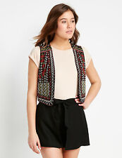 Ladies Black Embroidered & Beaded Dotti Vest Size 14 RRP $59.95