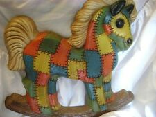 """rocking horse ,patchwork, vintage, nursery room 13"""" T x 12"""" W  wallhanging"""