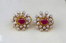 SOLID 22KT GOLD Earrings Ruby Diamond FLORAL Design