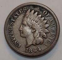 1864 CN Indian Head Cent Grading VERY GOOD Uncleaned Priced Right FREE S&H g17