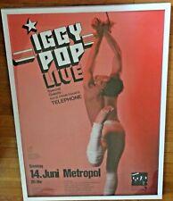 IGGY POP 1981 Concert Poster Framed Metropol Berlin Germany Telephone Photo