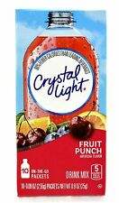 CRYSTAL LIGHT FRUIT PUNCH Powdered DRINK (10 Packet x 2 Boxes) ON-THE-GO Singles