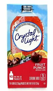 CRYSTAL LIGHT FRUIT PUNCH Powdered DRINK (10 Packet x 1 Box) ON-THE-GO Singles