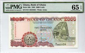 1995 GHANA PK30B 2000 CEDIS NOTE SUSPENSION BRIDGE PMG 65 EPQ GEM UNC H/15823404