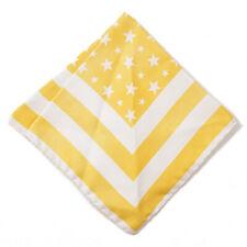 NWT RODA Golden Yellow Star and Stripe Print Silk Pocket Square
