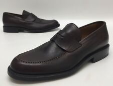 Fratelli Peluso Mens Brown Leather Slip On Penny Loafers Size 42