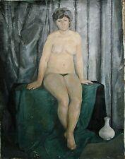 Russian Ukrainian Soviet Oil Painting female Portrait realism nude woman 1960s