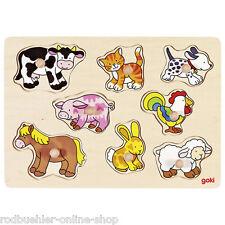 Steckpuzzle Bauernhof Holzpuzzle Setzpuzzle goki aus Holz Bauernhoftiere Tiere