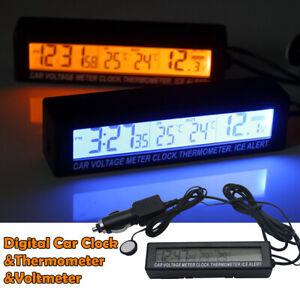 1* 12V Auto LED Digital Uhr In/Außentemperatur KFZ Thermometer Spannungsmesser