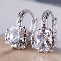 Bling bling 18K White gold filled white sapphire hot sale leverback earring