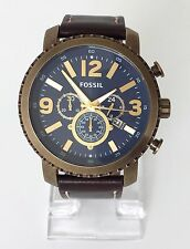 Fossil Herren Uhr Chronograph braun blau Leder Datum BQ2102