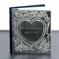 Chrome-Plated Sweetheart Holds 100- 4x6 Photo Album wedding CUSTOM ENGRAVED FREE