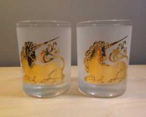 2 Rare Vintage Culver Gold Unicorn Whiskey Rocks Double Old Fashioned Glasses