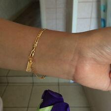 "Lifetime Insurance 7"" 3mm 18K Yellow Gold Plated Chain Bracelet, Birthday Gift"