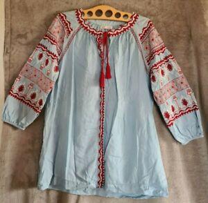 Zara Jeans Bluse Gr *M* Blau Stickerei Hippie Boho Folklore, verst. Knopfleiste