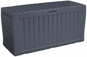 270L LOCKABLE GARDEN STORAGE OUTDOOR PLASTIC BOX CHEST STORE TOOLS CUSHIONS