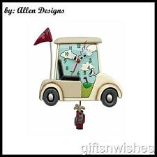 Groovy STAY THE COURSE Golf Buggy Designer Pendulum Wall Clock by Allen Designs