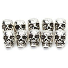 10 PCS Charms DIY Metal Skull Head Antique Silver Spacer Beads Jewelry Making