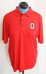 New Ohio State Buckeyes OSU Varsity Field Rifle Red Button Polo Shirt Men's L