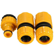 """3Pc 1/2"""" 3/4"""" Hose Pipe Fitting Set Quick Garden Water Connector Adaptor Tool UK"""
