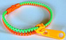 Bracelet Fermeture Eclair Zip Zippé Fluo Flashy 1 éclair vert orange