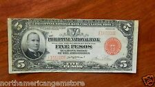 Extremely Rare 1937 5 Pesos Red Seal Philippines Notes E165200E VF Victory Note