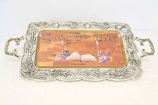 """ANTIQUE SILVER PLATED RECTANGULAR """" SHABAT """" TRAY WITH WOODEN BLOCK ON SALE"""