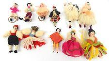 Group Of 11 Vintage Miniature Ethnic Souvenir Dolls Cloth Yarn Fabric Made Cute!