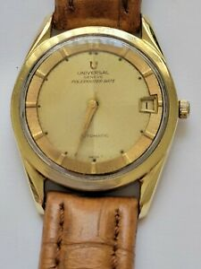 Vintage Universal Geneve Polerouter Automatic 218-2 Date Watch Gold Dial Beige