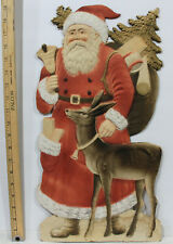 Large Die Cut, Heavily Embossed Santa Claus w/ Reindeer and Bell c1930s