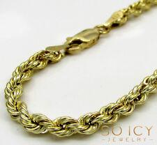 "2.70 Grams 4mm 9"" Mens 10k Yellow Real Gold Rope Hip Hop Bracelet"