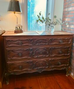 "Country French VINTAGE Walnut Bachelor Chest of Drawer Commode - 50"" wide"