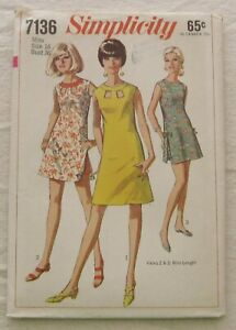 Vintage Dress Sewing Pattern*Simplicity 7136*UNCUT*Size 16*retro 60s*sleeveless