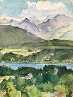 Aquarell Impressionist Landschaft bei Velden Wörthersee Austria Alpen signiert
