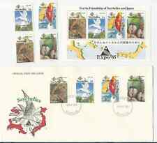 SEYCHELLES 1985 OFFICIAL FDC & MNH SET & S/S  SCOTT #'s 563 TO 566a EXPO'85