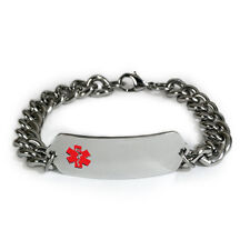 Medical Alert ID Bracelet with wide chain Emblem. Free wallet Card!