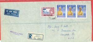 Malaysia Malaya KEDAH $1 + 10c Strip of 3 on KUALA LUMPUR Registered cover to US