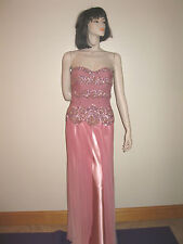 New Authentic Terani Sweetheart Embellished Pink Sequin/Sheer Evening Gown Sz 6