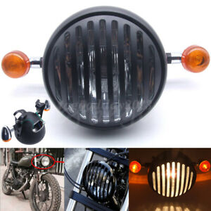 """Motorcycle 6.5"""" Retro Headlight Grille Mount Turn Signal Bracket For Cafe Racer"""