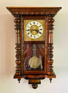 Antique Vienna Wall Clock by Gustav Becker Germany Chiming 8 Day Movement c1910